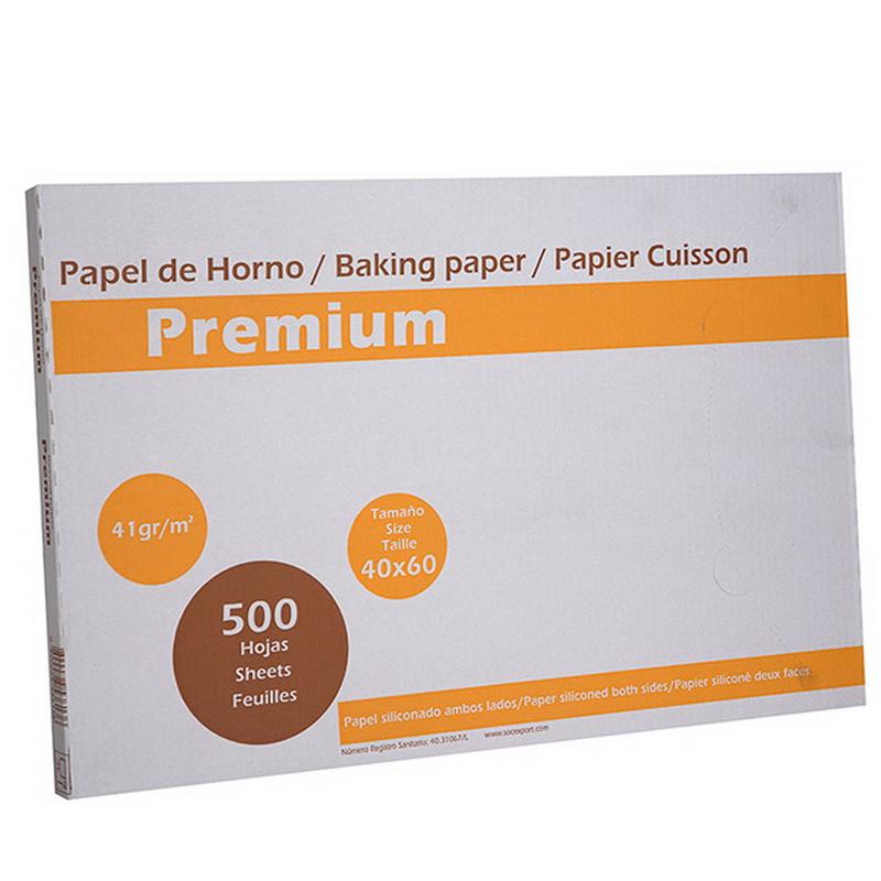 1 caja 500 hojas Papel horno bisiliconado PREMIUM   60x40cm de 41gr