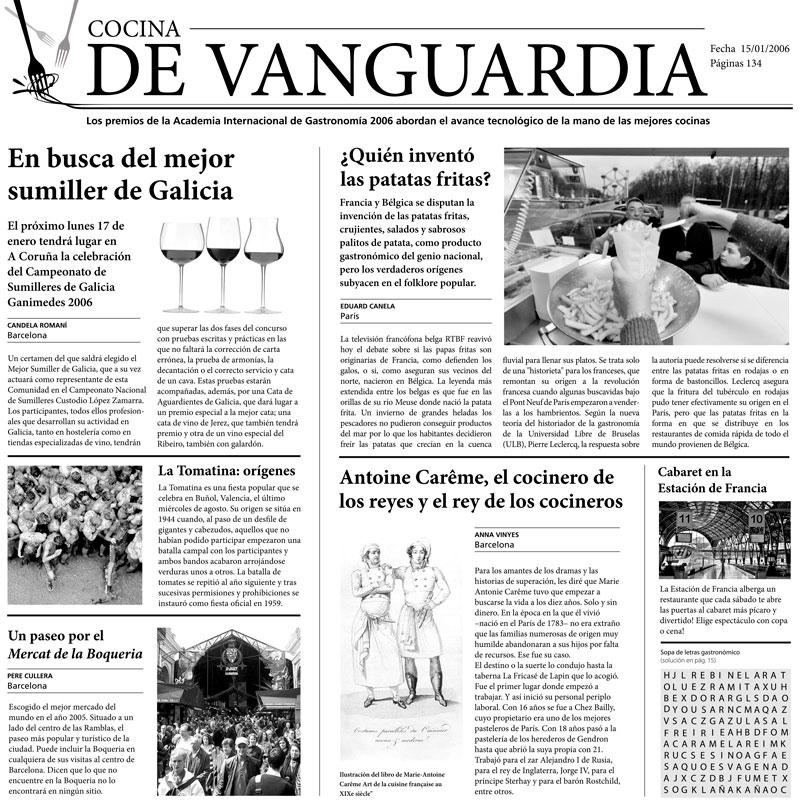 """PAPEL PERIÓDICO """"COCINA DE VANGUARDIA"""" - 100% CHEF"""