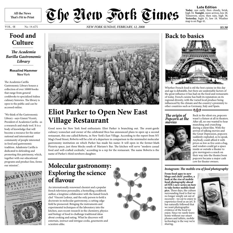 """PAPEL PERIÓDICO """"NEW FORK TIMES"""" - 100% CHEF"""