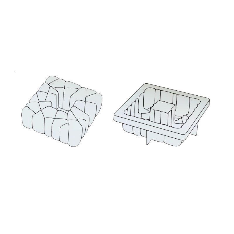 3D Molde para tarta Square 150x150x h 55mm en caja Pavoni